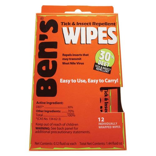 Ben's 30% DEET wipes put repellent only where you want it