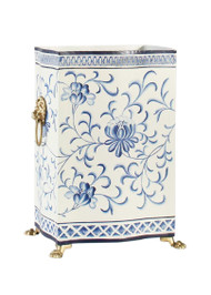 Blue & White Wastebasket