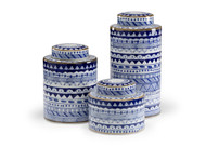 Blue and White Canisters - Deguise Interiors Charleston SC