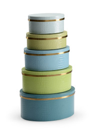 Oval Boxes - Blue/Green (Set of 5)