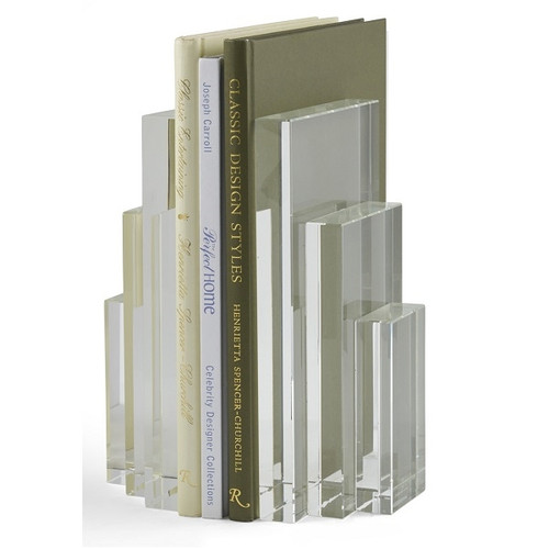 Crystal Bookends - Deguise Interiors Charleston SC