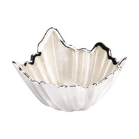 Glass & Silver Leaf Shaped Bowl