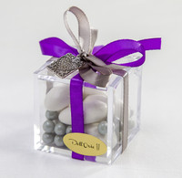 Purple Ribbon Plexiglass Favor Box