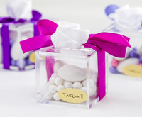 White Flower Clear Favor Box