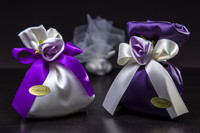 Purple & White Favor Bag w/ Flower