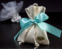 Linen Favor Bag W/ Decorative Braided Cord