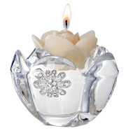 Crystal Candle holder w/ Swarovski Crystal Brooch