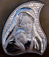Mother & Child Italian 925 Silver Plaque