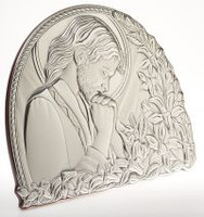 Praying Jesus Floral Design Silver Favor