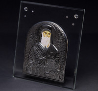Greek Bishop Plaque W/ Silver & Swarovski Crystal
