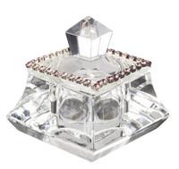 Crystal Trinket Box w. Pink Rhinestones