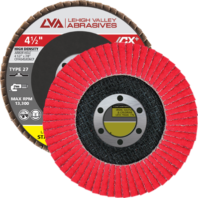 "4.5"" x 7/8"" Ceramic High Density Flap Disc Type 27 Flat | 80 Grit T27 | LVA CFFAS45J080CP"