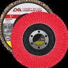 "5"" x 7/8"" Ceramic High Density Flap Disc Type 27 Flat | 60 Grit T27 | LVA CFFAS50J060CP"