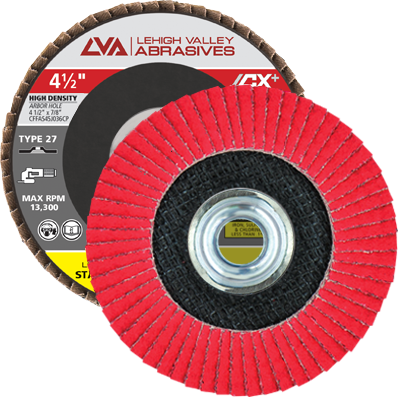 "4.5"" x 5/8""-11 Threaded Ceramic High Density Flap Disc Flat | 120 Grit T27 | LVA CFFAS45J120CP"