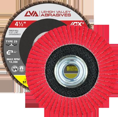 "4.5"" x 5/8""-11 Threaded Ceramic Flap Disc Type 29 Conical | 80 Grit T29 | LVA CFCAS45S080CP"