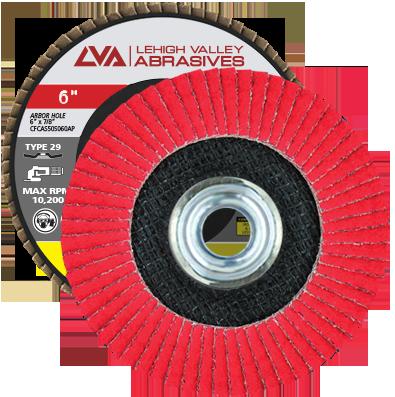 "6"" x 5/8""-11 Threaded Ceramic Flap Disc Type 29 Conical | 36 Grit T29 | LVA CFCAS60S036CP"