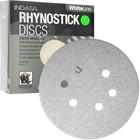 "6"" 6 Hole Rhynostick PSA Discs (Box of 100) | 180 Grit AO Plus | Indasa 64-180"
