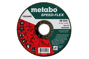 "Metabo 655837000 - Rigid Fiber Disc, Speed-Flex, 5"", 36 Grit, 7/8"", Type 29, Ceramic, Fiberglass Backing"
