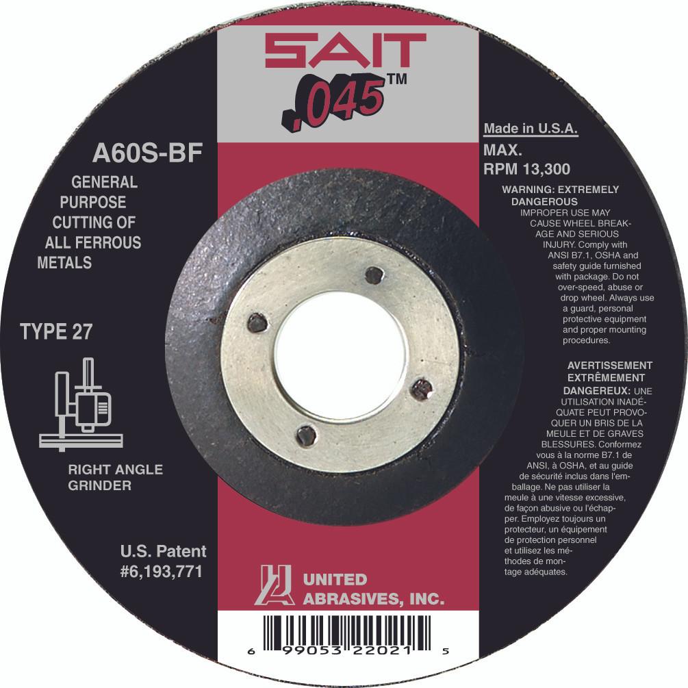 "Qty//10 Sait 22053 Metal Cut-Off Wheels 7/"" x .045/"" x 7//8/"" Type 27//42 A60S"