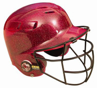 All-Star BH6100FFG Batting Helmet with Faceguard and Metalic Flakes (Scarlet)