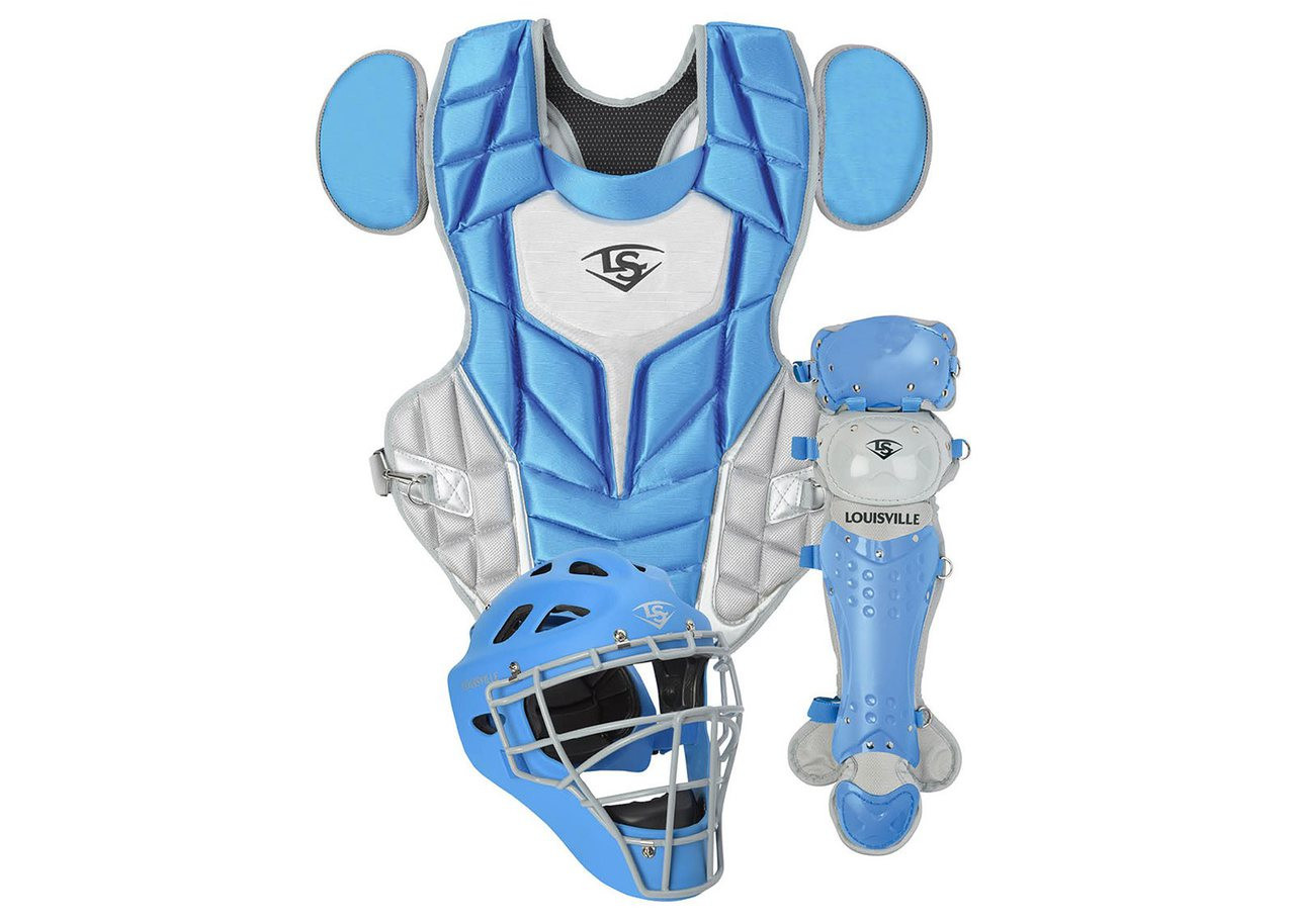 87ab5726d81 Louisville Slugger Series 5 3-Piece Catchers Set Intermediate Columbia Blue  Gray - Ballgloves