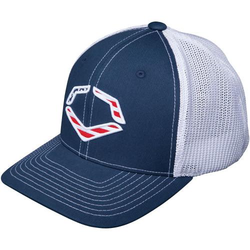 Wilson Sporting Goods Evoshield Usa Logo Flexfit Trucker Hat Navy Large X-Large 7 3/8 - 7 5/8