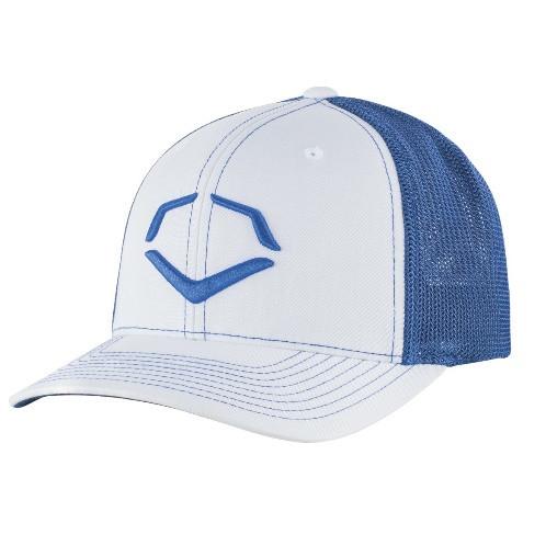 f56ba11d Wilson Sporting Goods Evoshield Royal Steed Stripe Mesh Flexfit Hat White  Royal Large X-Large