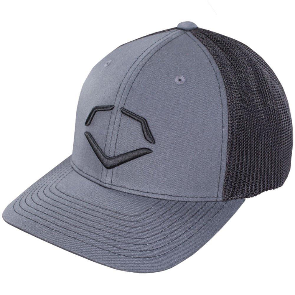 29e325f5 EvoShield Steed Stripe Mesh Flexfit Hat Black Grey Small Medium - Ballgloves