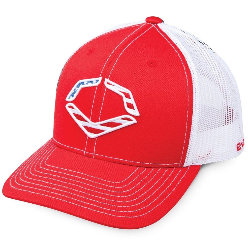 best service 3bab0 acebd ... free shipping wilson sporting goods evoshield usa snapback trucker hat  red 54d9e bd13b