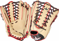 All-Star Pro Elite 12.75 Outfield Baseball Glove Cream Black Scarlet Right Hand Throw