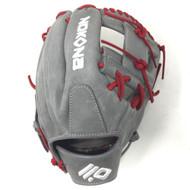 Nokona American KIP 14U Gray with Red Laces 11.25 Baseball Glove I-Web Right Hand Throw