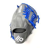 Nokona AmericanKip 14U Gray with Royal Laces 11.25 Baseball Glove Mod Trap Web Right Hand Throw
