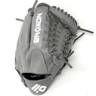 Nokona AmericanKip 14U Gray with Silver Laces 11.25 Baseball Glove Mod Trap Web Right Hand Throw