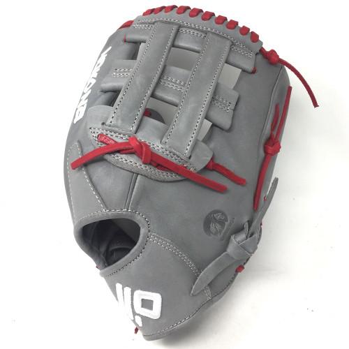 Nokona American KIP Gray with Red Laces 12 Baseball Glove H Web Right Hand Throw
