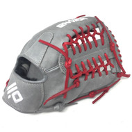 Nokona American KIP Gray with Red Laces 12 Baseball Glove Mod Trap Web Right Hand Throw