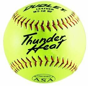 "Dudley Thunder Heat 12"" ASA Fastpitch Softballs Leather Cover COR 47 Compression 375lbs 1 Doz"