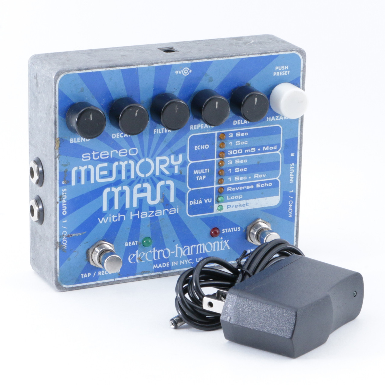 electro harmonix stereo memory man w hazarai delay guitar effects pedal p 08581. Black Bedroom Furniture Sets. Home Design Ideas