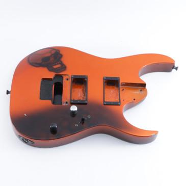 2000 Ibanez RG320DX Custom Orange w/ Skull Basswood Guitar Body BD-5236