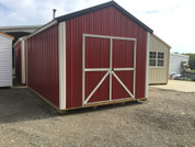 10x16 Metal Garden Shed Red