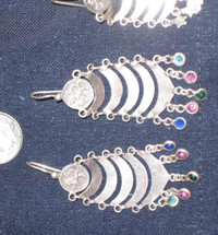 Mayan Antique Silver Earrings #34