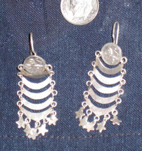 Mayan Antique Silver Earrings #35