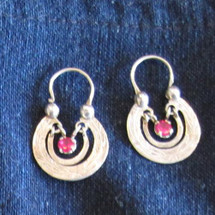 Mayan Antique Silver Earrings #10a