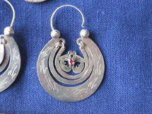 Mayan Antique Silver Earrings #36