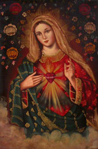 Sacred Heart of Mary -- Cusco School Painting