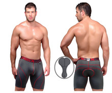 51371 Xtremen Men's Cycling Padded Boxer Briefs Color Gray