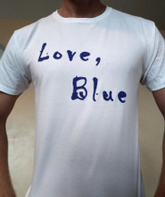 Love Blue Cotton T-Shirt Color White
