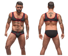 100-052 MalePower Men's Mini Tank Bikini Set Color Black-Red