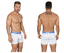 51417 Xtremen Men's Boxer Briefs Microfiber Stripes Color White