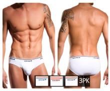 554101W-100 Papi Men's 3PK Rib Low Rise Briefs Color White