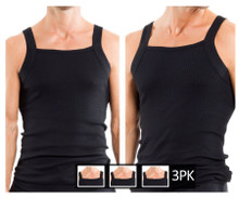 559102-001 Papi 3PK Square Neck Tank Color Black